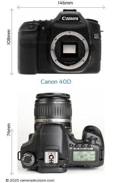 Canon 40D Body Size Dimensions