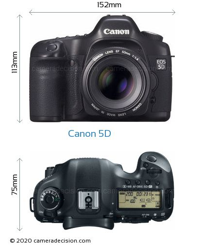 Canon 5D Body Size Dimensions