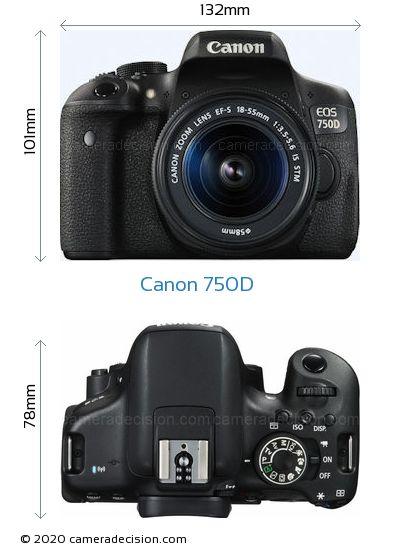 Canon 750D Body Size Dimensions