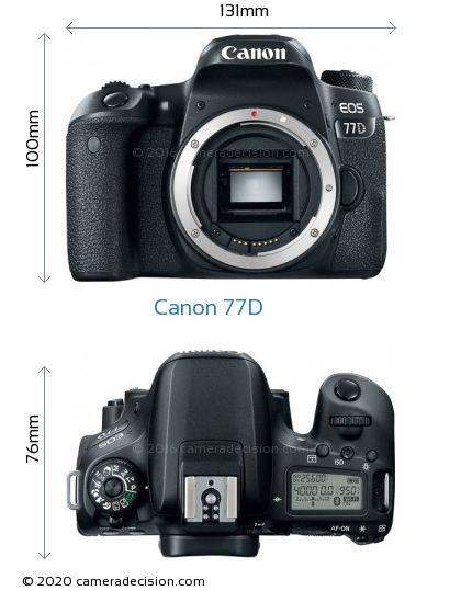 Canon 77D Body Size Dimensions
