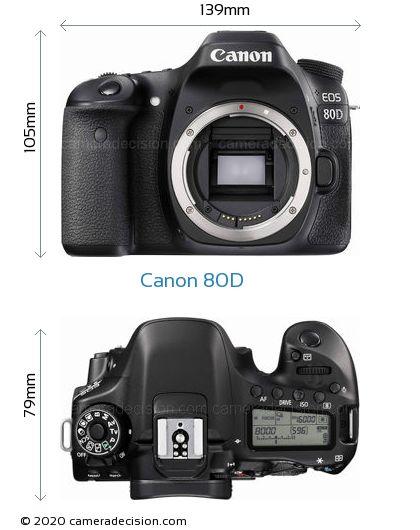 Canon 80D Body Size Dimensions