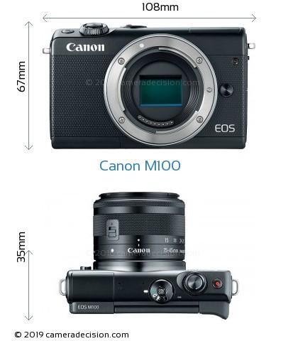 Canon M100 Body Size Dimensions