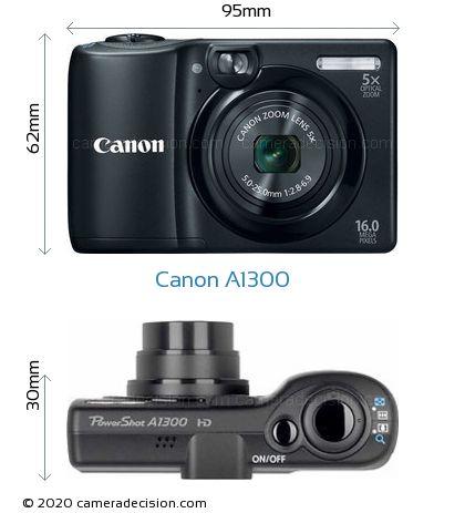 Canon A1300 Body Size Dimensions