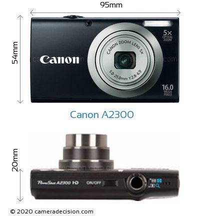 Canon A2300 Body Size Dimensions