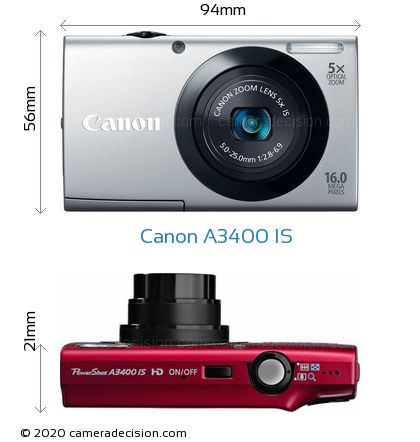 Canon A3400 IS Body Size Dimensions