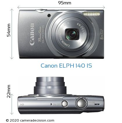 Canon ELPH 140 IS Body Size Dimensions