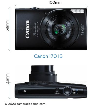 Canon 170 IS Body Size Dimensions