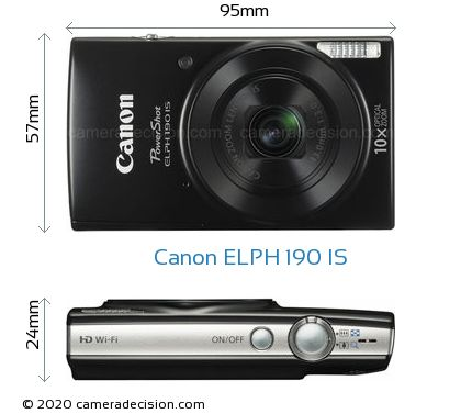 Canon ELPH 190 IS Body Size Dimensions