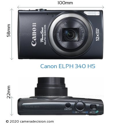 Canon ELPH 340 HS Body Size Dimensions