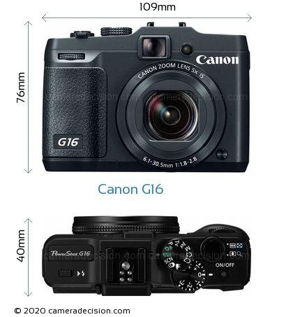 Canon G16 Body Size Dimensions