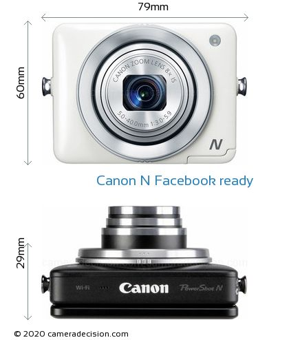 Canon N Facebook ready Body Size Dimensions