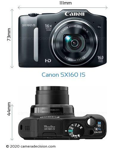Canon SX160 IS Body Size Dimensions