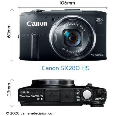 Canon SX280 HS Body Size Dimensions
