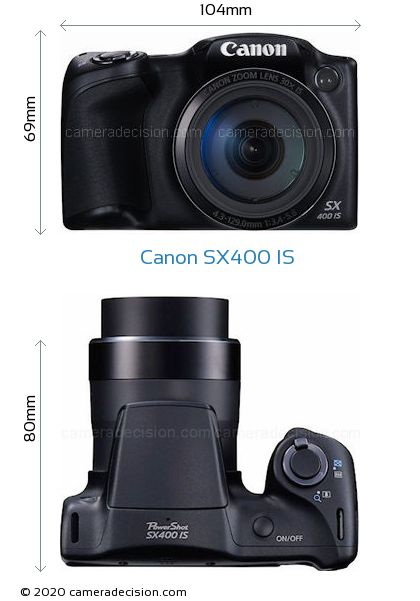 Canon SX400 IS Body Size Dimensions
