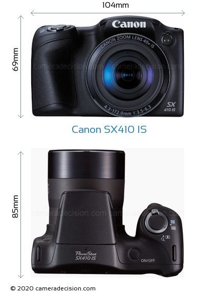Canon SX410 IS Body Size Dimensions