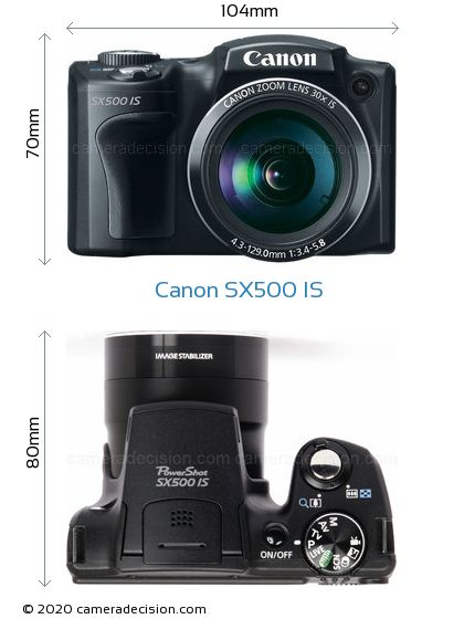 Canon SX500 IS Body Size Dimensions