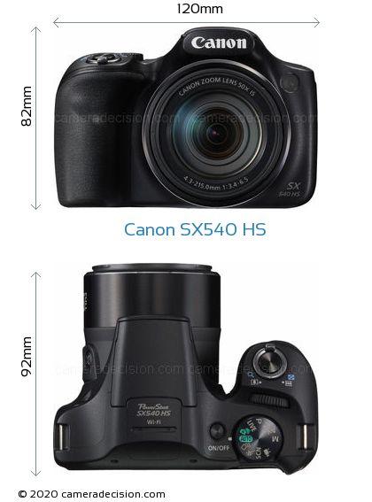 Canon SX540 HS Body Size Dimensions