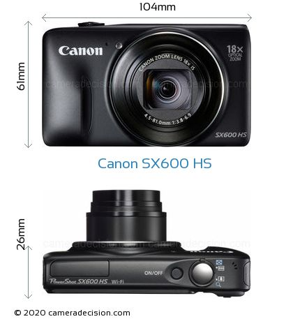 Canon SX600 HS Body Size Dimensions