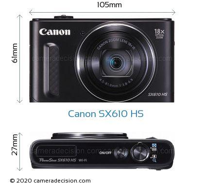 Canon SX610 HS Body Size Dimensions