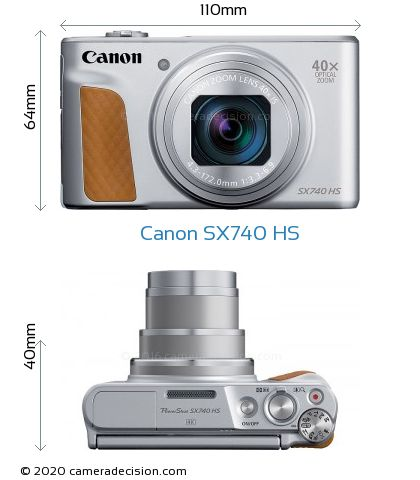 Canon X740 HS Body Size Dimensions