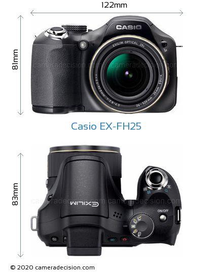 Casio EX-FH25 Body Size Dimensions