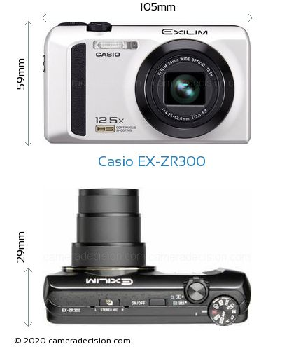 Casio EX-ZR300 Body Size Dimensions