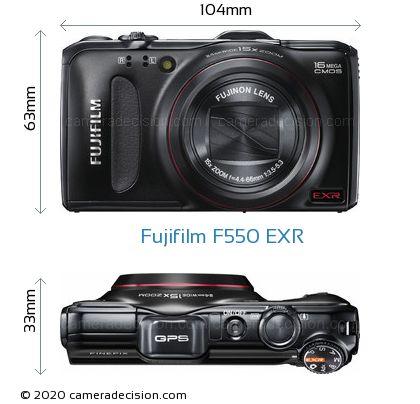 Fujifilm F550 EXR Body Size Dimensions