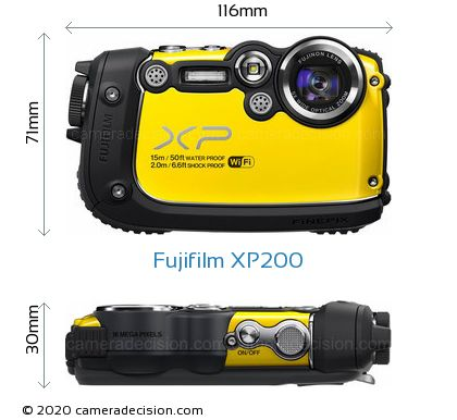 Fujifilm XP200 Body Size Dimensions