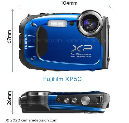 Fujifilm XP60 Body Size Dimensions