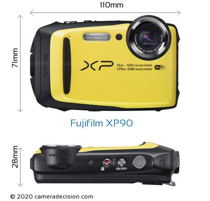 Fujifilm XP90 Body Size Dimensions