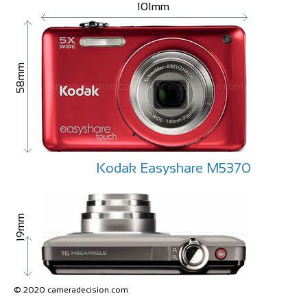 Kodak Easyshare M5370 Body Size Dimensions