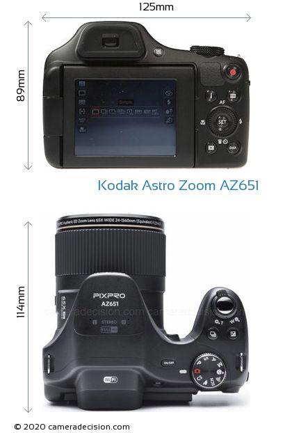 Kodak Astro Zoom AZ651 Body Size Dimensions