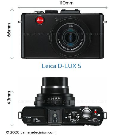 Leica D-LUX 5 Body Size Dimensions