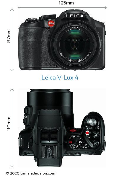 Leica V-Lux 4 Body Size Dimensions