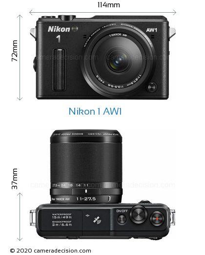 Nikon 1 AW1 Body Size Dimensions