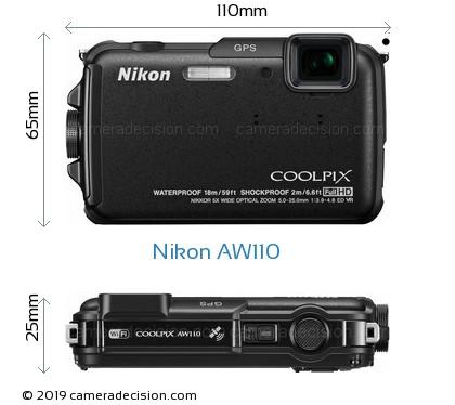 Nikon AW110 Body Size Dimensions