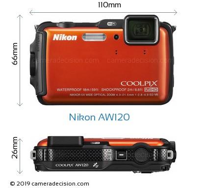 Nikon AW120 Body Size Dimensions