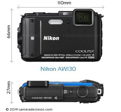 Nikon AW130 Body Size Dimensions