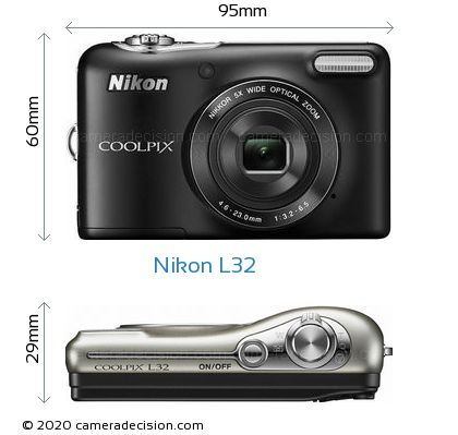 Nikon L32 Body Size Dimensions