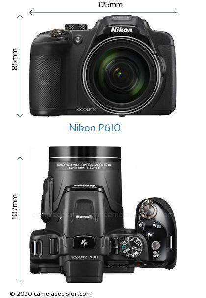 Nikon P610 Body Size Dimensions