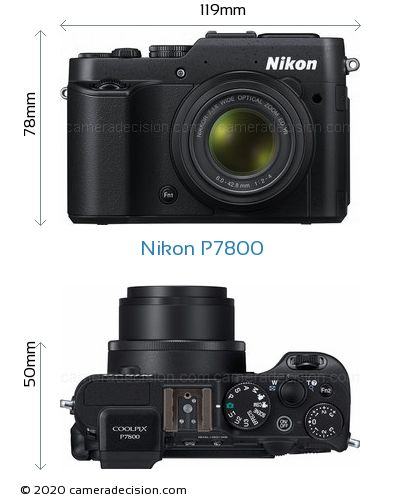 Nikon P7800 Body Size Dimensions