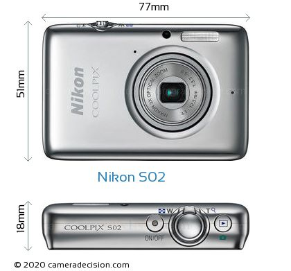 Nikon S02 Body Size Dimensions