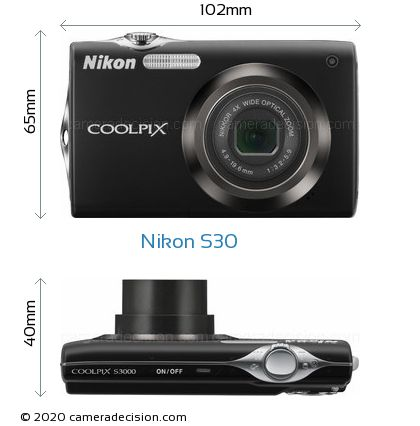 Nikon S30 Body Size Dimensions