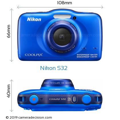 Nikon S32 Body Size Dimensions