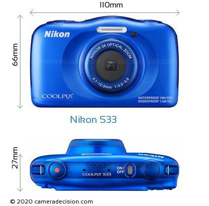 Nikon S33 Body Size Dimensions