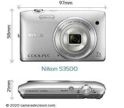 Nikon S3500 Body Size Dimensions