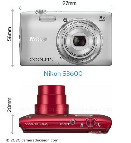 Nikon S3600 Body Size Dimensions