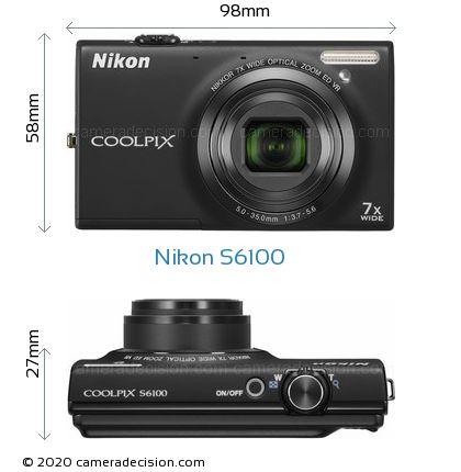 Nikon S6100 Body Size Dimensions
