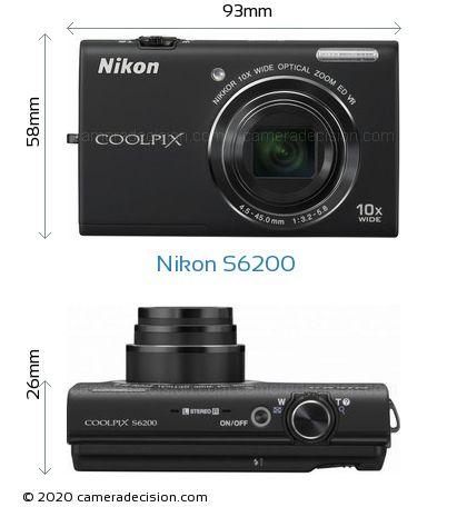 Nikon S6200 Body Size Dimensions