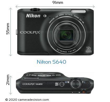Nikon S640 Body Size Dimensions
